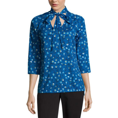 Worthington 3/4 Sleeve V Neck T-Shirt-Womens Talls