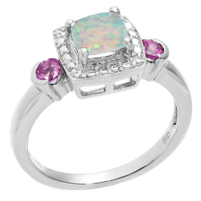 Womens Diamond Accent Lab Created White Opal Sterling Silver Cocktail Ring