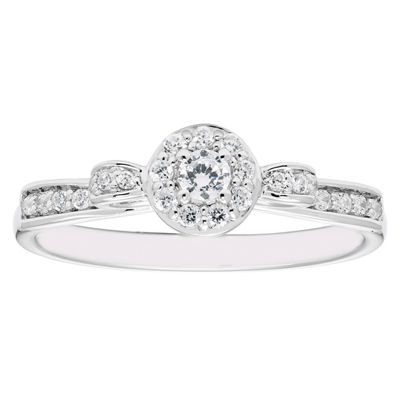 Enchanted Disney Fine Jewelry Womens 1/4 CT. T.W. Round Diamond 10K Gold Engagement Ring