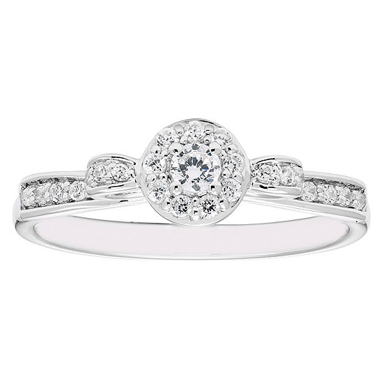 Enchanted Disney Fine Jewelry Womens 1/4 CT. T.W. Genuine Diamond 10K Gold Engagement Ring