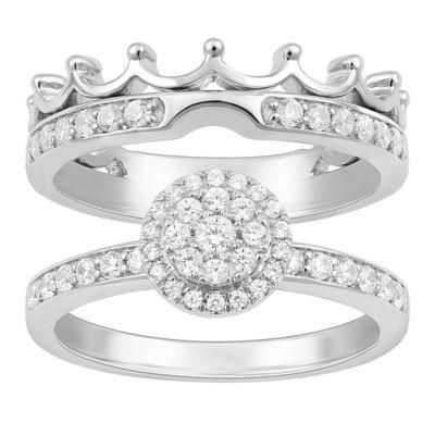 Enchanted Disney Fine Jewelry Womens 1/2 CT. T.W. Genuine Diamond 14K Gold Disney Princess Bridal Set