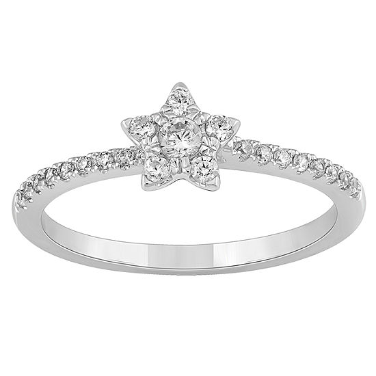 Enchanted Disney Fine Jewelry Womens 1/4 CT. T.W. Genuine Diamond 10K Gold Promise Ring