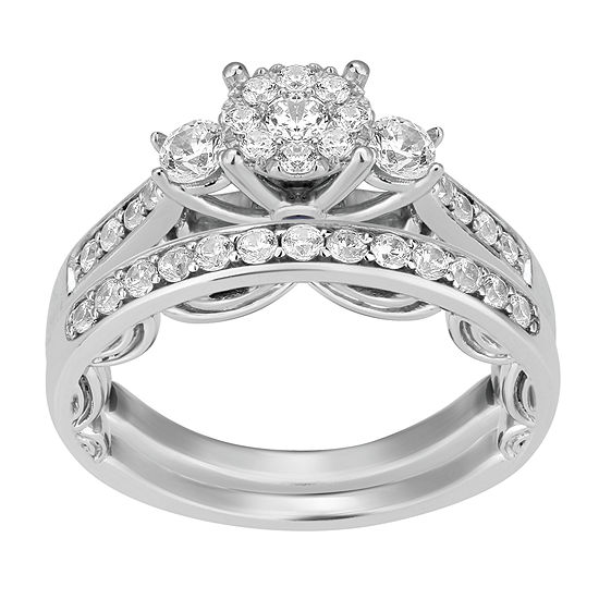 Enchanted Disney Fine Jewelry Womens 3/4 CT. T.W. Genuine White Diamond 14K White Gold Cinderella Bridal Set