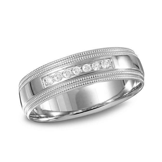 Mens 6MM 1/10 CT. T.W. Genuine White Diamond 10K Gold Wedding Band
