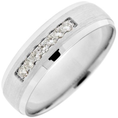 Mens 6mm 1/10 CT. T.W. Genuine White Diamond 10K Gold Band