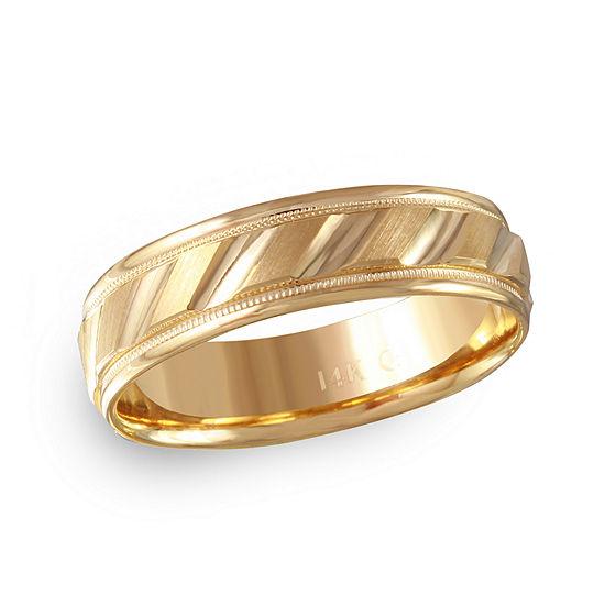 Mens 6MM 14K Gold Wedding Band