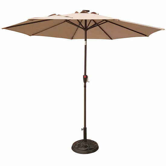 Outdoor Oasis 9-Ft LED Cranktilt Market Patio Umbrella