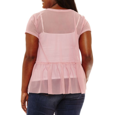 Arizona Mesh Embroidered Peplum Top- Juniors Plus