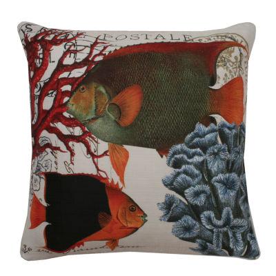 Thro by Marlo Lorenz French Coastal Fish Printed Throw Pillow