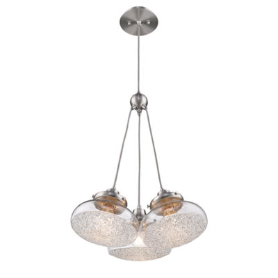 Asha 3-Light Pendant in Pewter with Crushed Crystal Glass