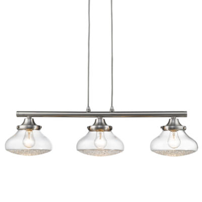 Asha Linear Pendant in Pewter with Crushed CrystalGlass