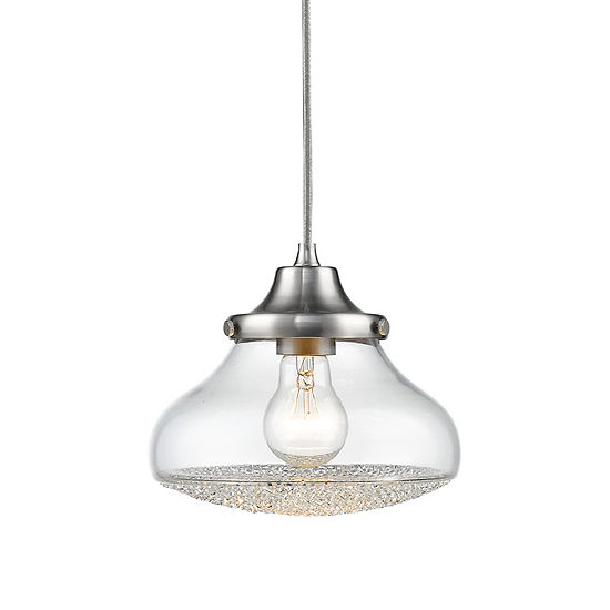 Asha Small Pendant in Pewter with Crushed Crystal Glass