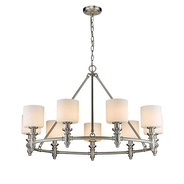 Beckford 9-Light Chandelier in Pewter with Opal Glass
