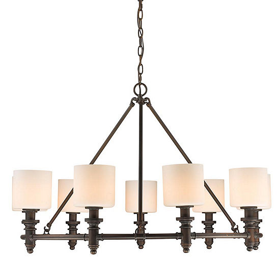 Beckford 9-Light Chandelier in Rubbed Bronze with Opal Glass