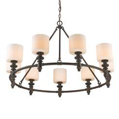Beckford 9-Light Chandelier in Rubbed Bronze withOpal Glass