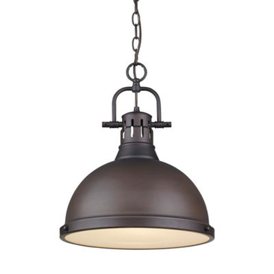 Duncan 1-Light Pendant with Chain in Rubbed Bronze