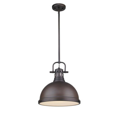 Duncan 1-Light Pendant with Rod in Rubbed Bronze