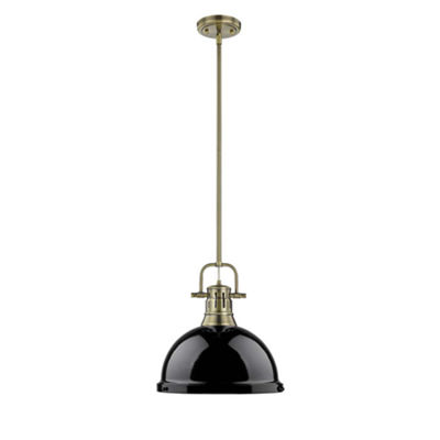 Duncan 1-Light Pendant with Rod in Aged Brass