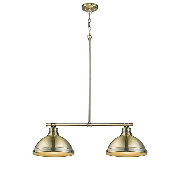 Duncan 2-Light Linear Pendant in Aged Brass