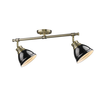 Duncan 2-Light Semi-Flush in Aged Brass