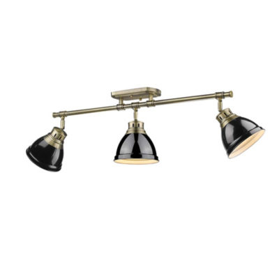 Duncan 3-Light Semi-Flush Track-Light in Aged Brass