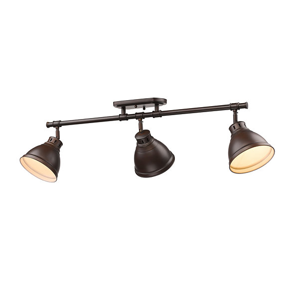 Duncan 3-Light Semi-Flush Track-Light in Rubbed Bronze