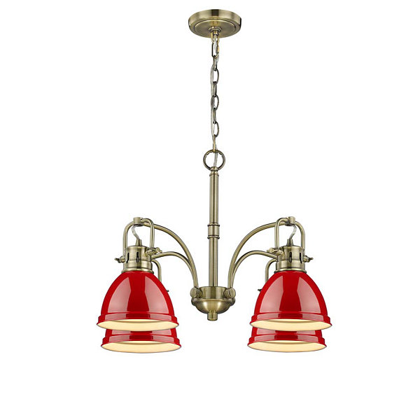 Duncan 4-Light Nook Chandelier in Aged Brass