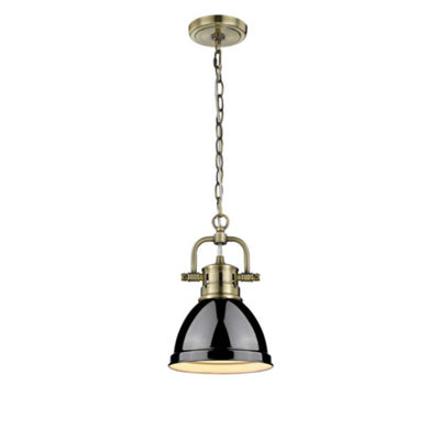 Duncan Mini Pendant with Chain in Aged Brass