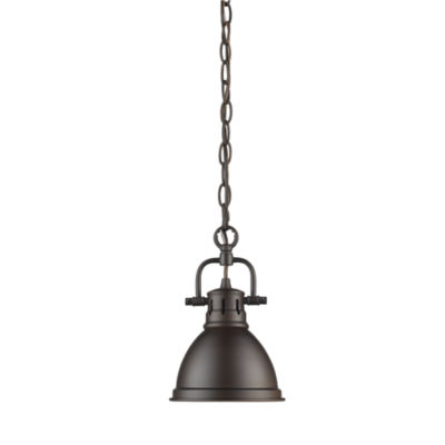 Duncan Mini Pendant with Chain in Rubbed Bronze