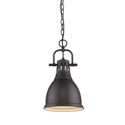 Duncan Small Pendant with Chain in Rubbed Bronze
