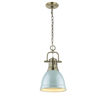 Duncan Small Pendant with Chain inAged Brass