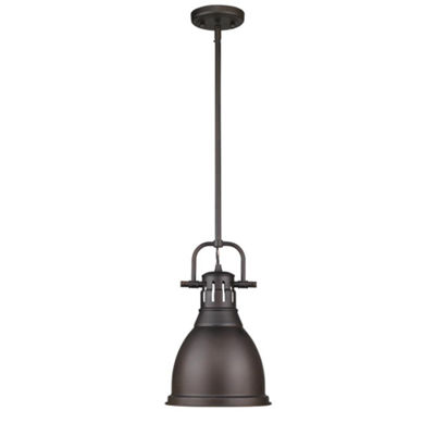 Duncan Small Pendant with Rod in Rubbed Bronze