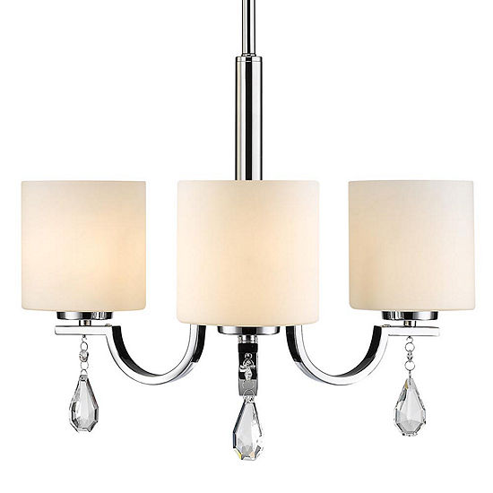 Evette 3 Light Chandelier In Chrome With Opal Glass
