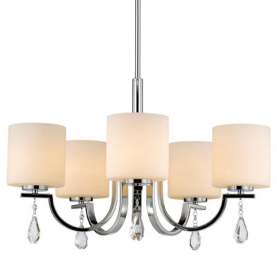 Evette 5-Light Chandelier in Chrome with Opal Glass