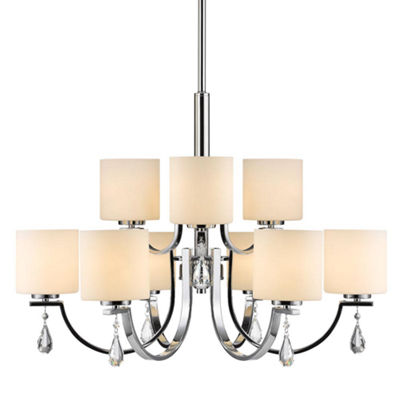 Evette 9-Light Chandelier in Chrome with Opal Glass