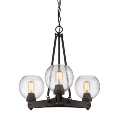 Galveston 3-Light Chandelier in Rubbed Bronze withSeeded Glass