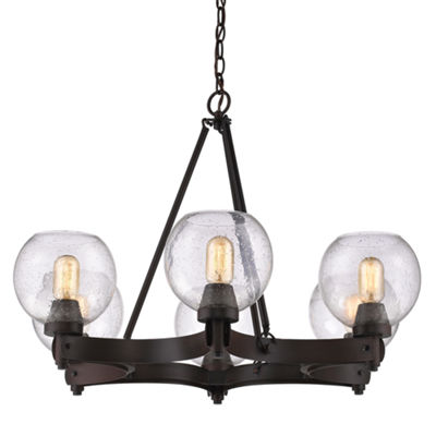 Galveston 6-Light Chandelier in Rubbed Bronze withSeeded Glass