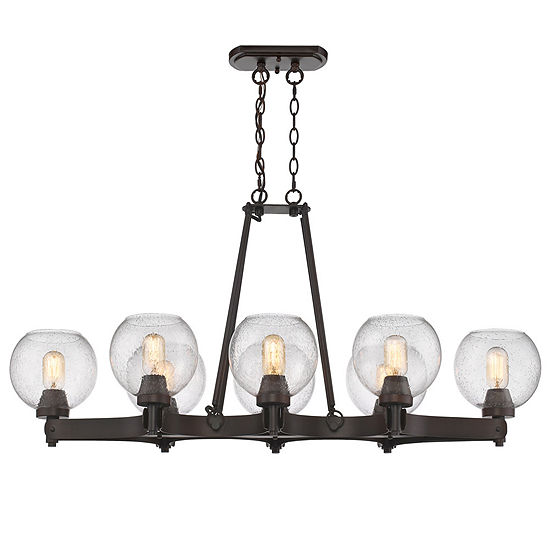 Galveston 8-Light Linear Pendant in Rubbed Bronze with Seeded Glass