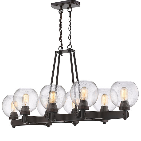 Galveston 8-Light Linear Pendant in Rubbed Bronzewith Seeded Glass