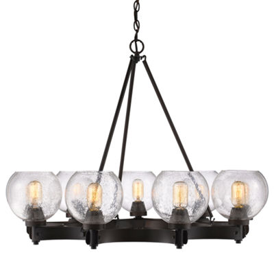 Galveston 9-Light Chandelier in Rubbed Bronze with Seeded Glass
