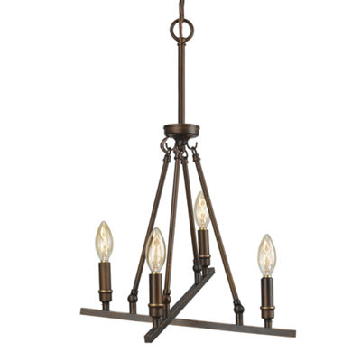 Garvin 4-Light Chandelier in Rubbed Bronze