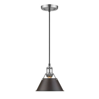 "Orwell Mini Pendant 7"" in Pewter with Rubbed Bronze Shade"
