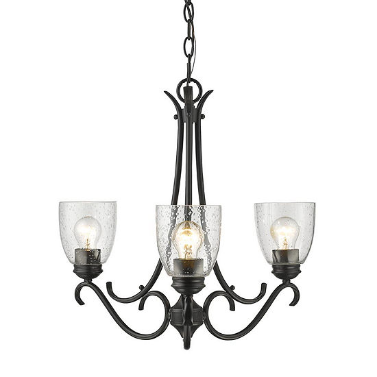 Parrish 3-Light Chandelier in Black with Seeded Glass