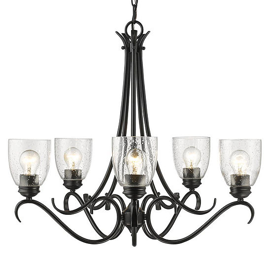 Parrish 5-Light Chandelier in Black with Seeded Glass