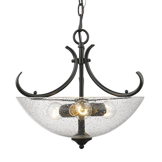 Parrish Semi Flush Convertible In Black With Seeded Glass