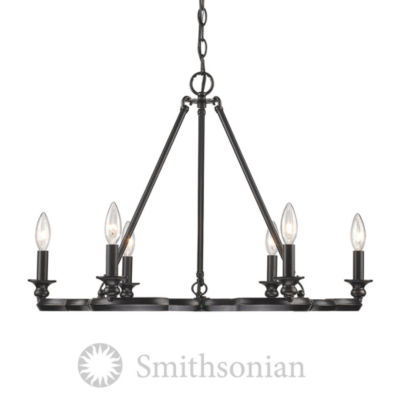 Saxon 6-Light Chandelier in Aged Bronze