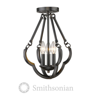 Saxon Semi Flush Convertible in Aged Bronze
