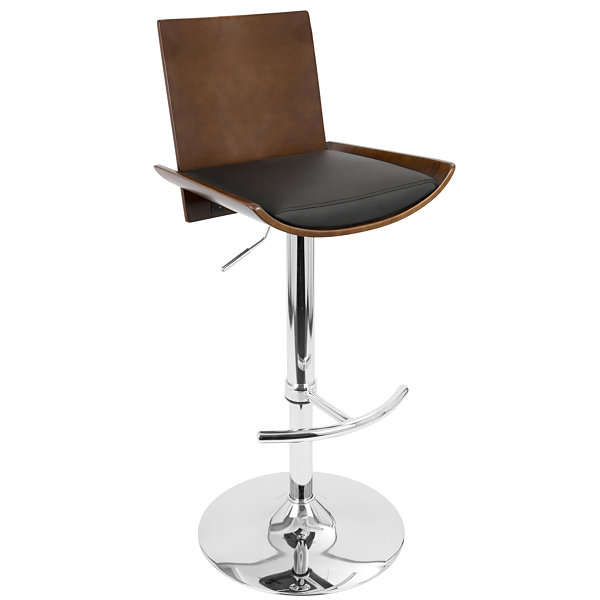 Vittorio Height Adjustable Mid-Century Modern Barstool with Swivel by LumiSource