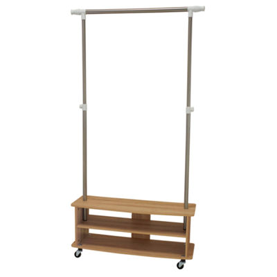Household Essentials Rolling Shoe Cubby Garment Rack