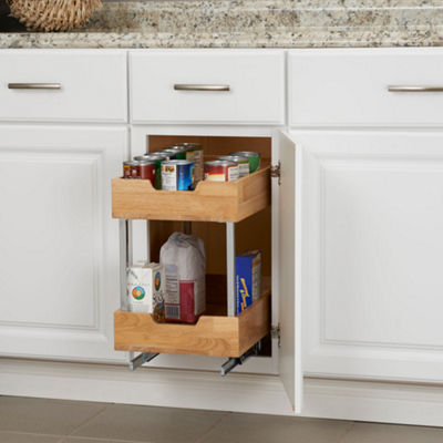 "Household Essentials GLIDEZ 2-Tier 11.5"" Wood Sliding Cabinet Organizer"
